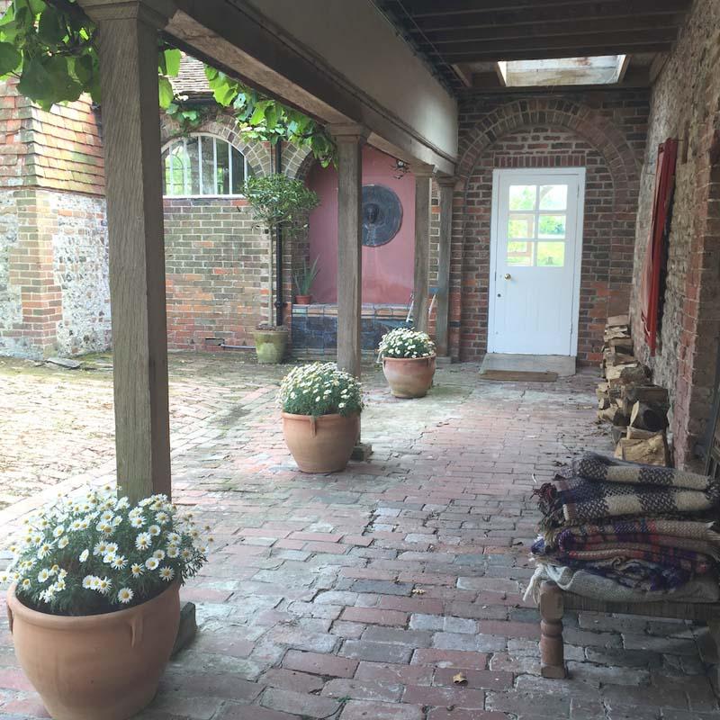gentle yoga retreat tilton house courtyard